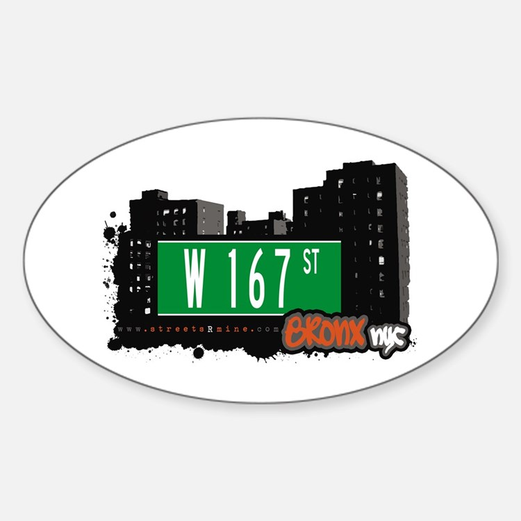 W 167 St, Bronx, NYC Oval Decal