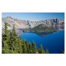 Crater Lake and Wizard Island , Crater Lake Nation Poster