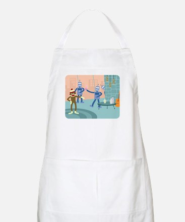 Sock Monkey Robot Cocktail Party Apron