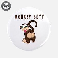 """Monkey Butt New Begining 3.5"""" Button (10 pack)"""