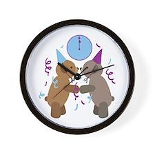 New Years Teddy Bears Couple Kiss Wall Clock