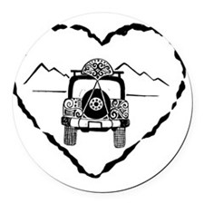 Jeep Love B&W Round Car Magnet
