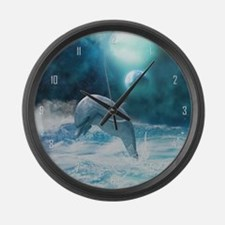 Freedom of dolphins Large Wall Clock