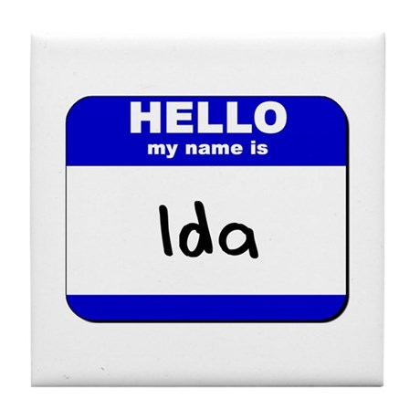 hello my name is ida Tile Coaster