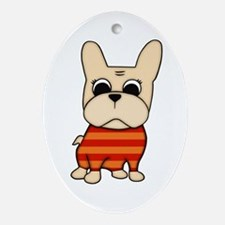 Cream Frenchie Oval Ornament