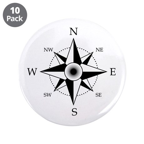 """Compass Rose 3.5"""" Button (10 pack)"""
