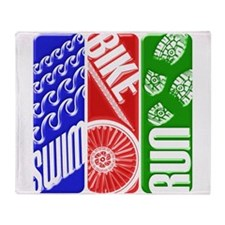 Triathlon TRI Swim Bike Run 3D Throw Blanket