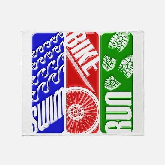 Triathlon TRI Swim Bike Run 3D Throw Blanket