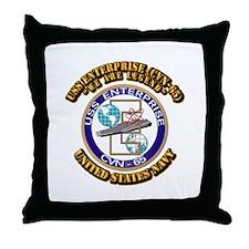 USS Enterprise (CVN-65) with Text Throw Pillow