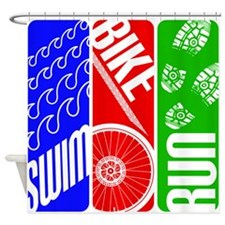 Triathlon TRI Swim Bike Run Shower Curtain