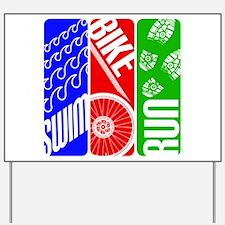 Triathlon TRI Swim Bike Run Yard Sign