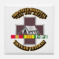 DUI - 3rd Field Hospital w SVC Ribbon Tile Coaster