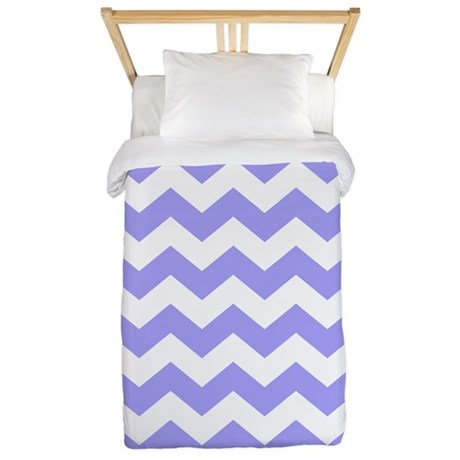 Purple And White Chevron Twin Duvet By Ornaartzi