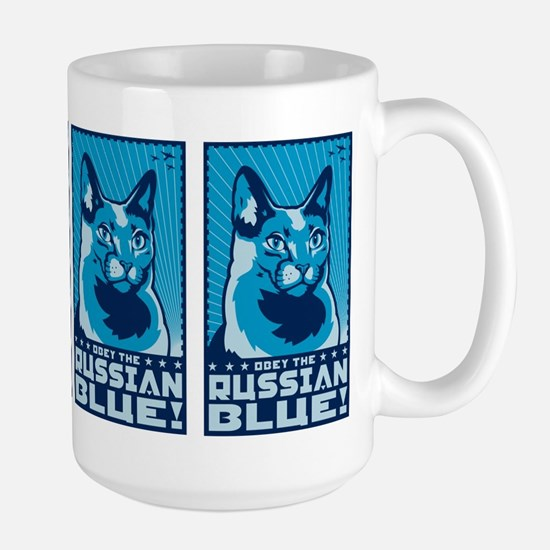 Obey the Russian Blue! Propaganda Cat Mugs