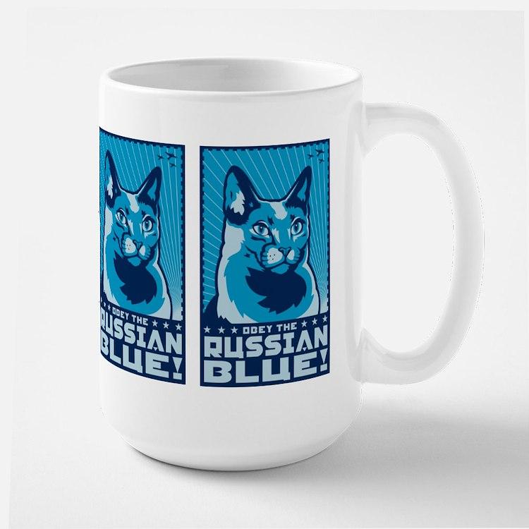 Obey the Russian Blue! Propaganda Cat Mugs