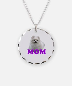 White Pomeranian Mom Necklace