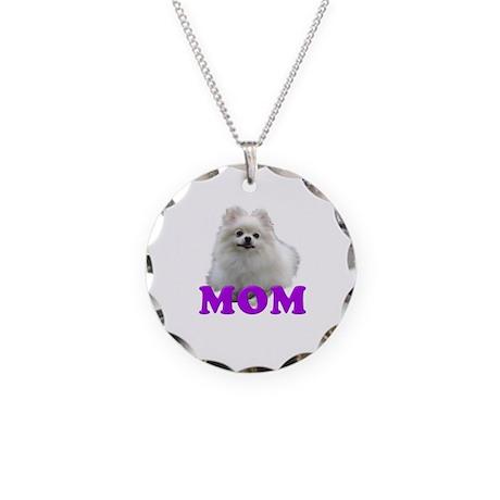 White Pomeranian Mom Necklace Circle Charm