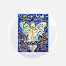 "Blue & Gold Cancer Angel 3.5"" Button"