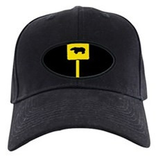 YELLOW BEAR CROSSING SIGN/BLK Baseball Hat