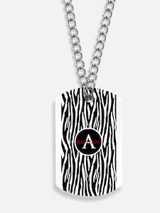 Custom Monogram Zebra Pattern Animal Print Dog Tag