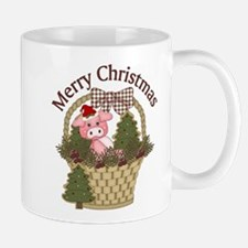 Christmas Pig With Trees In Basket Mugs
