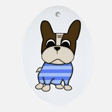 Pied Frenchie Oval Ornament