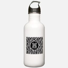 Zebra Animal Print Personalized Monogram Sports Water Bottle