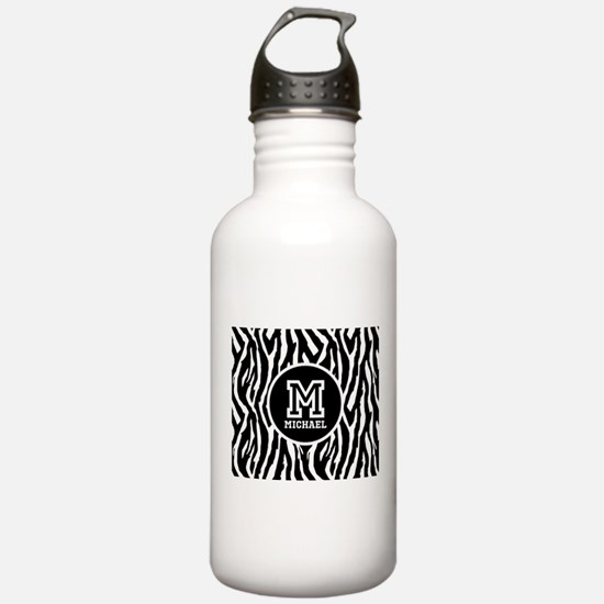 Zebra Animal Print Personalized Monogram Water Bottle