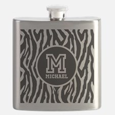 Zebra Animal Print Personalized Monogram Flask
