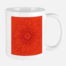 Coral Red daisy Mugs