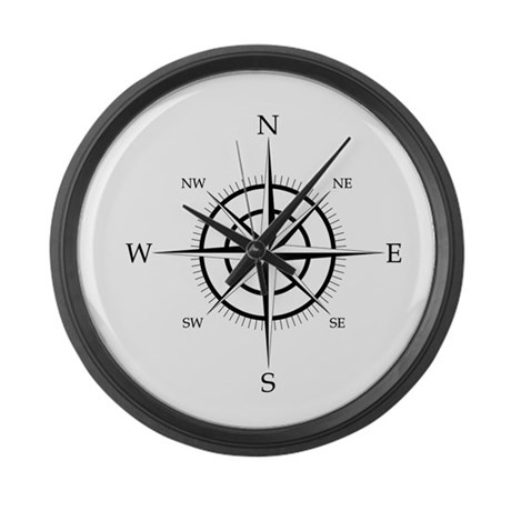 Compass Rose Large Wall Clock