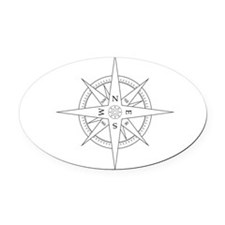 Compass Rose Oval Car Magnet