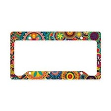 Funky Retro Pattern License Plate Holder
