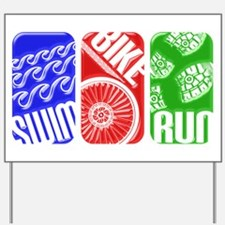 Triathlon TRI Swim Bike Run 3D Yard Sign