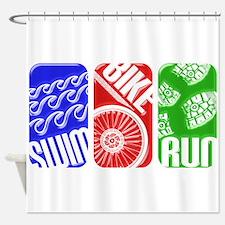Triathlon TRI Swim Bike Run 3D Shower Curtain
