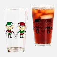 Christmas Elves Drinking Glass