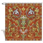 Red Tapestry Shower Curtain