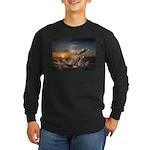 Long Sleeve Dark T-Shirt - sunset /jumping fish