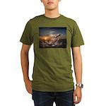 Organic Men's T-Shirt (dark) -Sunset fish