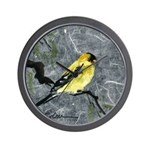 Wall Clock with gold finch