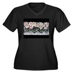 Women's Plus Size V-Neck Dark T-Shirt with Roses