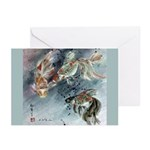 Gold Fish Note Card - for good wishing