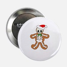 "Cute Gingerbread Skeleton Man 2.25"" Button"