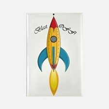 Blast Off! Rocket Ship Rectangle Magnet