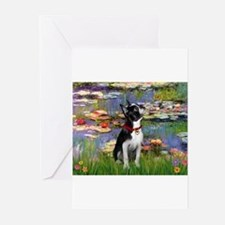 Lilies & Boston Terrier Greeting Cards