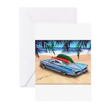Christmas Surf Car Greeting Cards