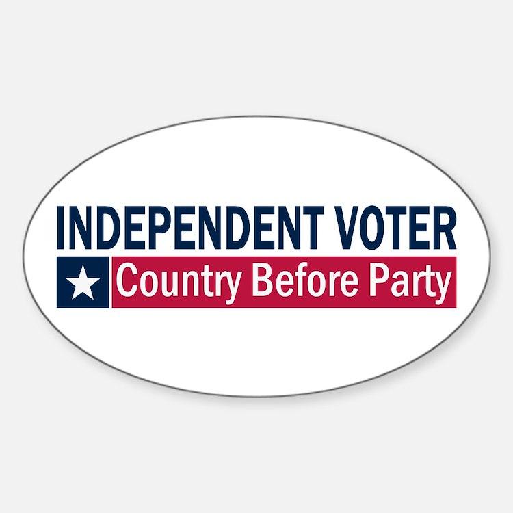 Independent Voter Blue Red Sticker (Oval)