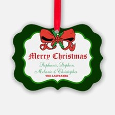 Merry Christmas Bow Holly Names Ornament