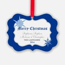 Blue Merry Christmas Names Ornament