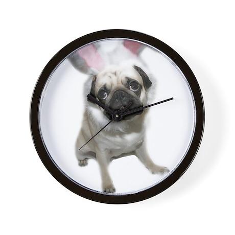 Easter Pug Wall Clock